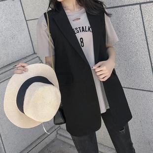 Костюм жилет женщина пальто корейский длина небольшой рост безрукавный жилет большой двор жилет чистый красный сердце верхняя одежда осень