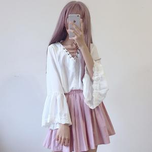 Hàn Quốc phiên bản của Nhật Bản mềm cô gái dễ thương phù hợp với với tay áo trumpet váy hai mảnh ulzzang phụ nữ mới
