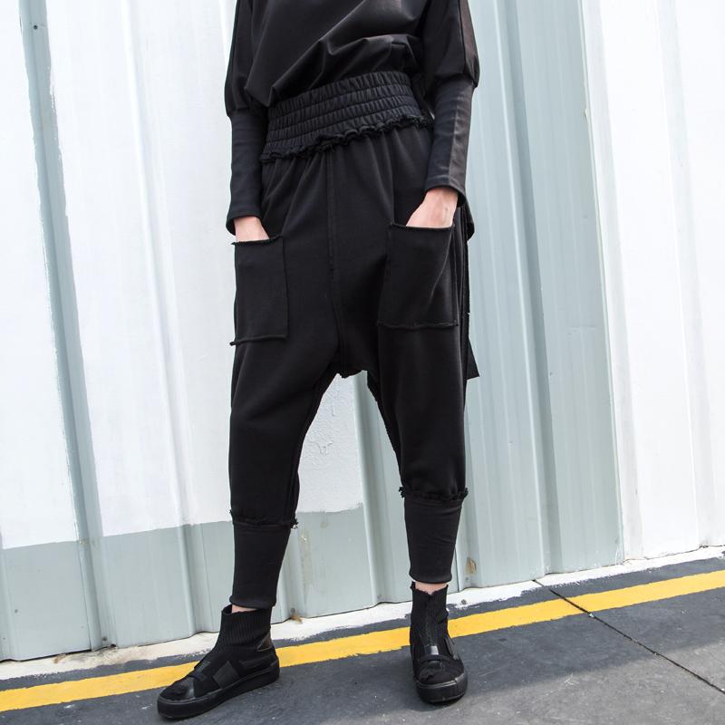 2020秋冬新款个性哈伦裤宽松胖MM高腰弹力休闲裤BF风街头潮款女裤