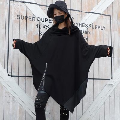 暗黑系2021早秋新款套头堆堆领卫衣女个性长袖不规则中长款卫衣裙