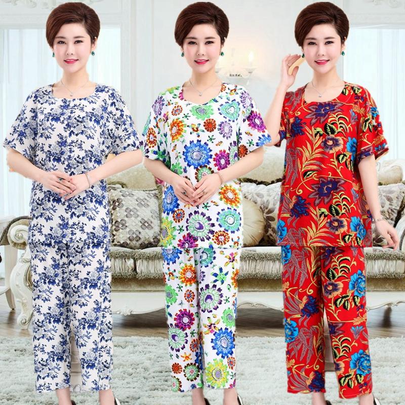 Mùa hè trung niên và người cao tuổi ngắn tay đồ ngủ đặt bông lụa XL của phụ nữ cotton mẹ nạp bông lụa dịch vụ nhà