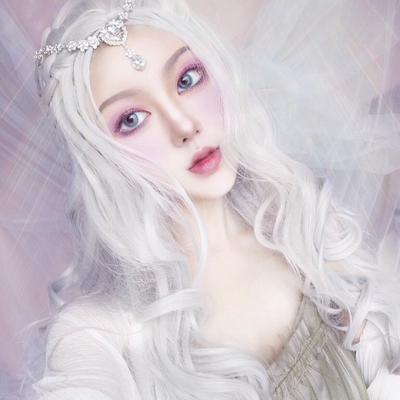 taobao agent Water dance white wig female silver white lolita middle point long curly hair big wave face repair net red anchor full headgear