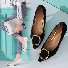 高跟鞋女裸色尖头细跟浅口欧美性感简约时尚舒适百搭女士磨砂单鞋