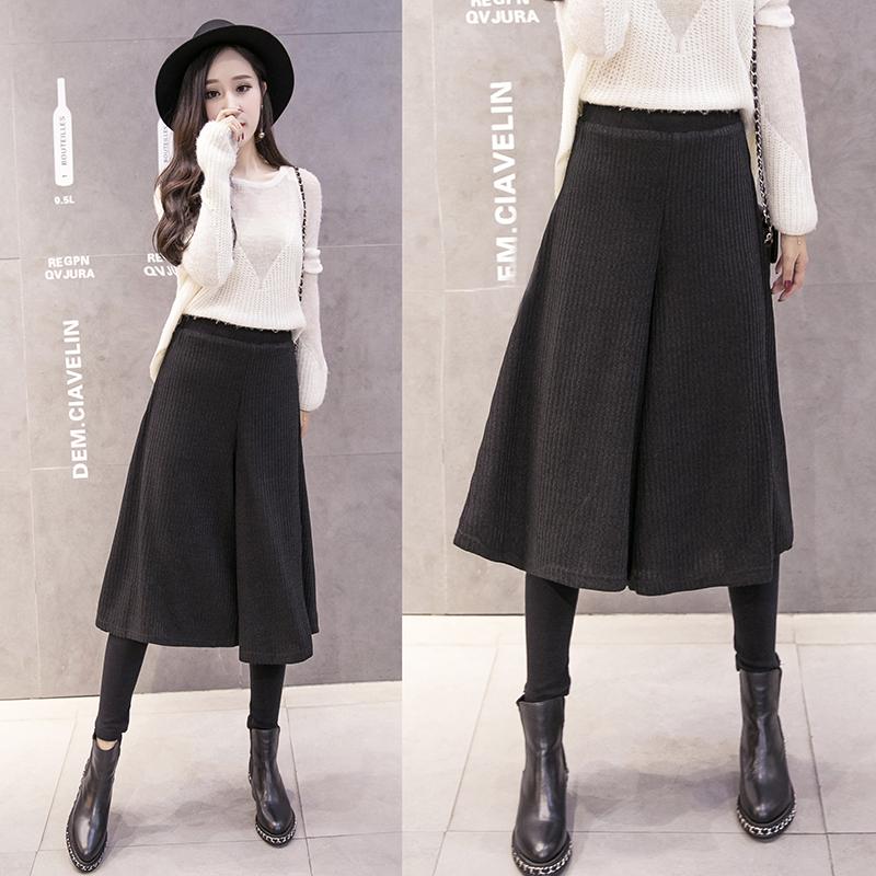 实拍1908#2018韩版女装春装新款假两件显瘦长裤休闲裤胖妹妹裙裤
