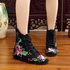 M93#实拍布鞋女冬季高帮保暖靴子女棉鞋系带厚底休闲鞋民族风棉靴