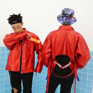 Panda bão PANDA STORM hip hop lỏng đỏ ma thuật màu áo khoác da triều quốc gia nam giới và phụ nữ những người yêu thích