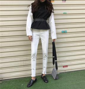 1555# 实拍 新款韩版chic牛仔裤女高腰长裤黑色小脚显瘦铅笔裤