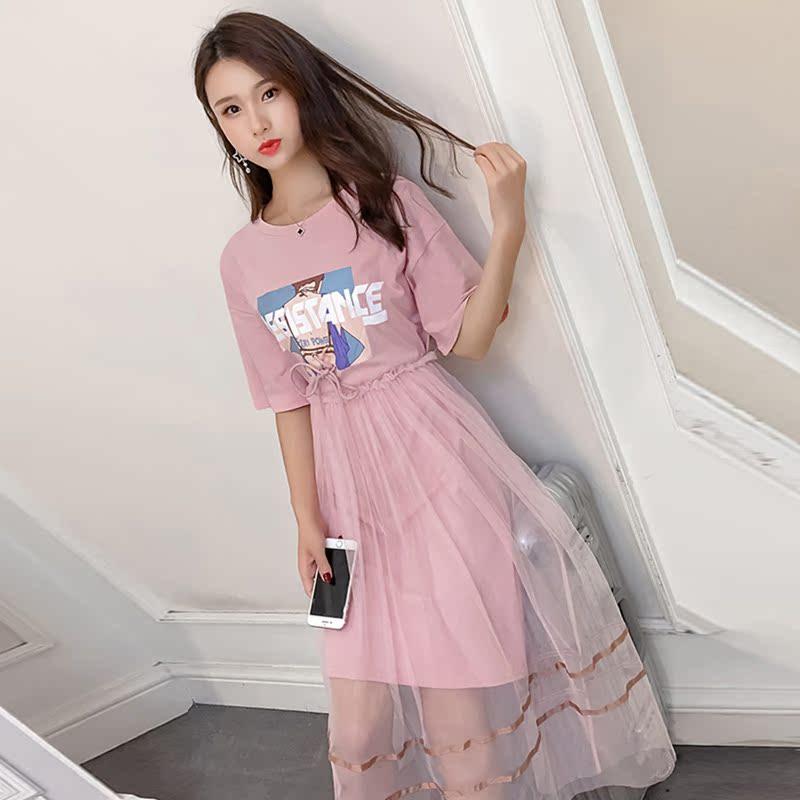 【两件套】ins超火印花T恤+网纱连衣裙