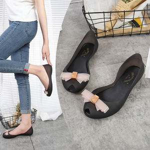 Thạch cá miệng giày nữ 2018 mới phẳng nhựa đáy mềm cung duy nhất giày không thấm nước không trượt giày bãi biển mưa khởi động