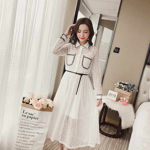 Two Piece Spring New Korean Fashion Long Section Waist Lace Dress With Bottom Strap Dress