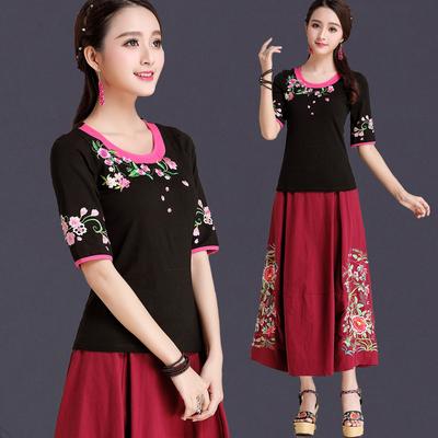 Trung quốc phong cách của phụ nữ mùa hè ăn mặc gió quốc gia áo sơ mi thêu ngắn tay T-Shirt nữ nửa tay kích thước lớn mỏng thêu áo sơ mi Cộng với kích thước quần áo