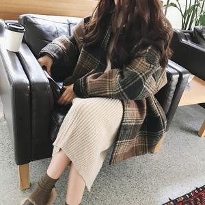 Retro kẻ sọc áo len nữ sinh viên mùa đông Hàn Quốc phiên bản lỏng mỏng BF Harajuku phong cách dày len áo triều