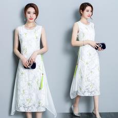 实拍6509夏装新款民族风气质淑女仙女长裙印花真丝白色连衣裙