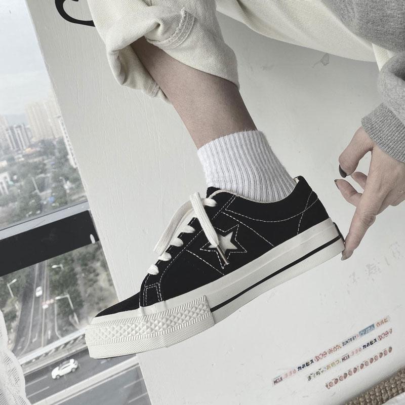 Giày vải đế thấp nữ ngôi sao năm cánh 2020 mùa xuân mới Hàn Quốc thời trang hoang dã lưới đỏ giày sinh viên bình thường giày thủy triều - Plimsolls