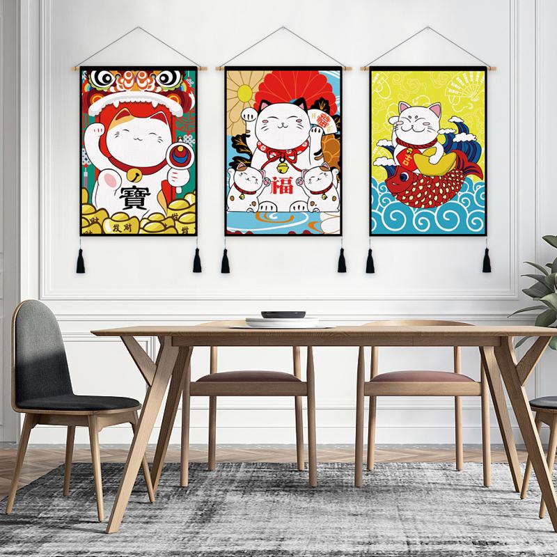 Nhà hàng nhật bản treo cờ cotton linen art mèo may mắn treo sơn phòng khách home meter box bìa vải sơn tấm thảm treo vải