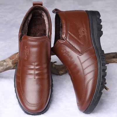 秋冬季保暖男士加绒加厚棉皮鞋