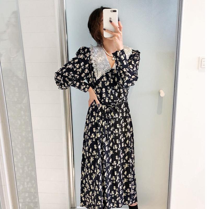 连衣裙秋装小清新优雅复古蕾丝领收腰显瘦碎花法式中长裙#9255