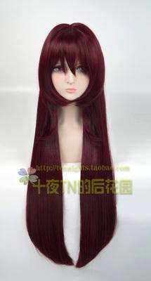 taobao agent Ten Nights TN Burgundy Dark Red FATE Master Skaha Benzi COS Wig has been repaired