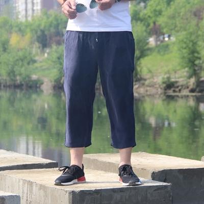 Mùa hè nặng satin lụa quần âu nam giới cắt quần short kích thước lớn lụa lụa đồng ammonia lỏng 7 quần 3/4 Jeans
