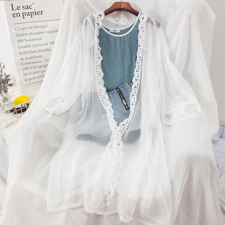 P55 # nữ điều hòa không khí áo jacket đèn lồng tay áo hollow ren dài khăn choàng bãi biển voan kem chống nắng quần áo cardigan