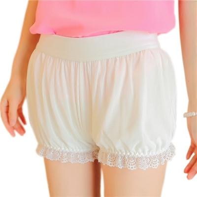 春夏季防走光保险打底裤安全裤女外穿蕾丝花边网纱灯笼裤三分短裤