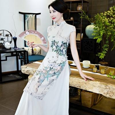 大码民族风时尚中式改良版优雅长款修身奥黛日常演出旗袍连衣裙
