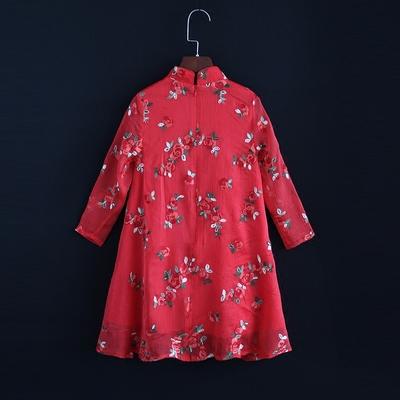 秋装女装新款绣花长袖旗袍中国风改良大摆连衣裙减龄显瘦