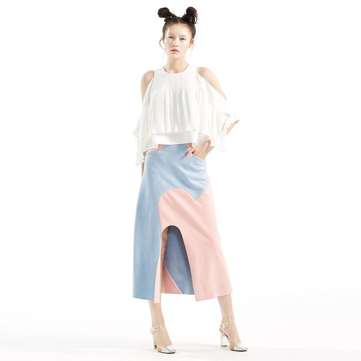 SUNGDO GIN春夏白日梦系列粉蓝拼高能撞色高腰心形分割长裙半裙