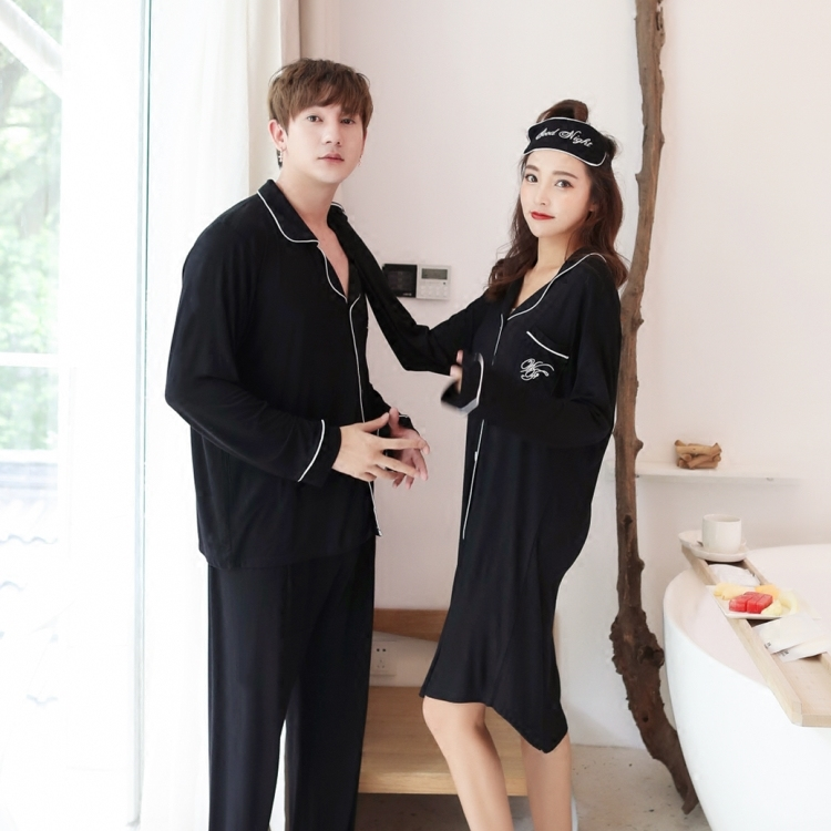 Châu âu và Mỹ đơn giản phương thức vài bộ đồ ngủ mùa xuân và mùa thu phần mỏng dịch vụ nhà rắn màu ve áo mở nút nam giới và phụ nữ dài tay áo