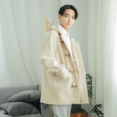 COKEIN mùa xuân sừng khóa áo len nam dài phần thanh niên nam áo khoác đẹp trai trùm đầu len áo gió Áo len
