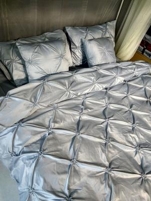 欧式纯色灰色四件套全棉床单式被套简约双人公主风床上用品1.8m床