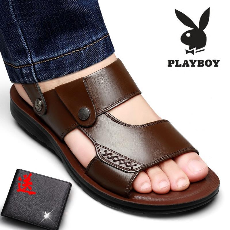 Playboy dép nam da bò 2018 mùa hè mới giày bãi biển bình thường Hàn Quốc phiên bản của non-slip mềm dưới xác thực