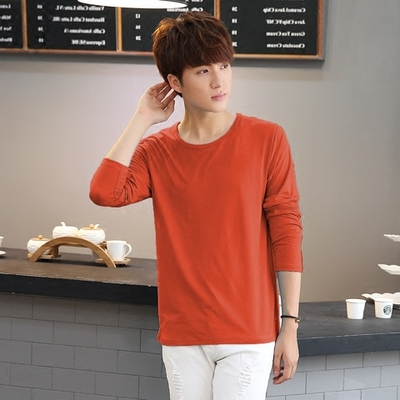 Nam ngắn tay T-Shirt v-cổ 2017 mùa hè mới màu rắn Hàn Quốc phiên bản của tự trồng cơ sở trắng chặt chẽ dài tay quần áo triều