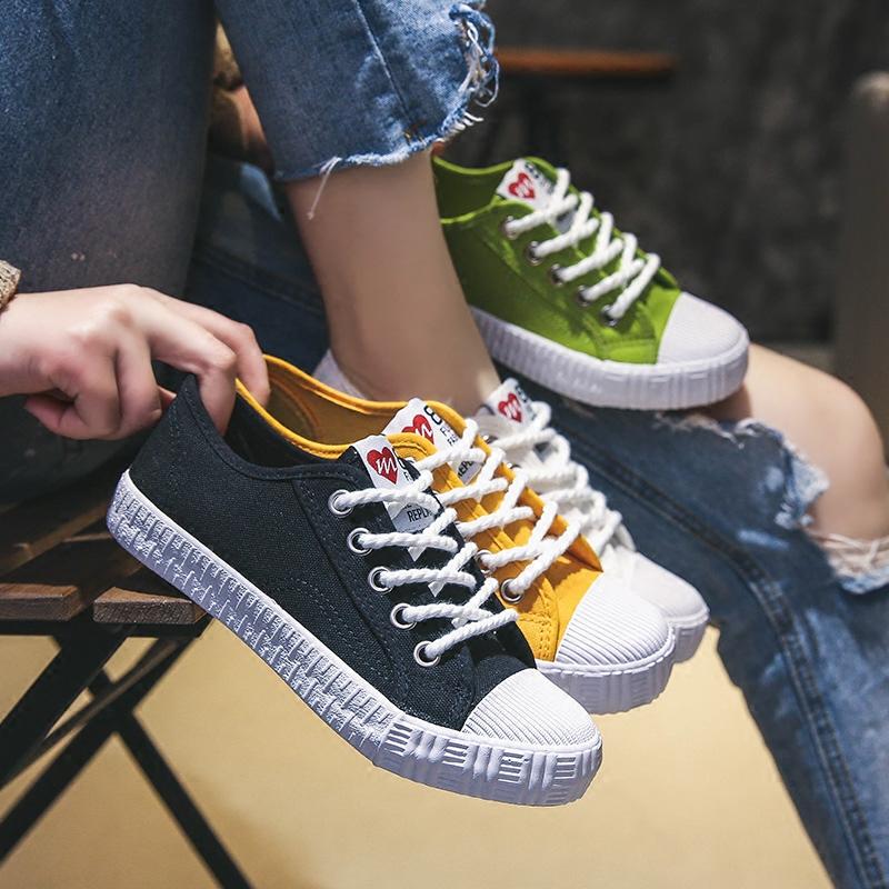 Ins Harajuku ulzzang giày vải nữ Hàn Quốc phiên bản của siêu lửa trắng giày hoang dã Hong Kong hương vị giày sinh viên chic Han Phong
