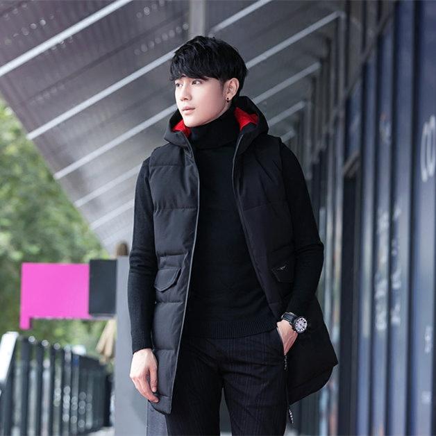 Vest nam mùa thu và mùa đông thanh niên nam dày trùm đầu Hàn Quốc phiên bản của triều Slim thời trang dài cotton vest vest