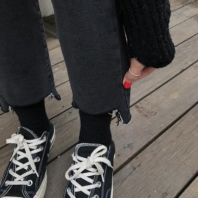 [ELINASEA]小海推荐  修身显瘦加薄绒缺口撕边微喇牛仔裤女