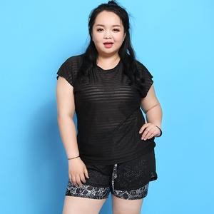 Kích thước lớn quần áo thể dục nữ chất béo mm200 kg yoga áo sơ mi ngắn tay khô nhanh thể thao chạy áo triều