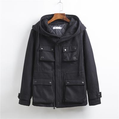 Mùa đông mới của Hàn Quốc phiên bản của vô hình flash trăng triều nam dây kéo cá tính mũ lớn đa túi Slim coat coat jacket Áo len
