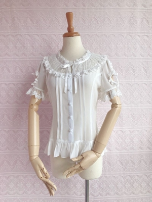 42agent Ilia Lolita lining 2018 spring and summer new short-sleeved Japanese puff sleeves chiffon lace versatile shirt - Taobao