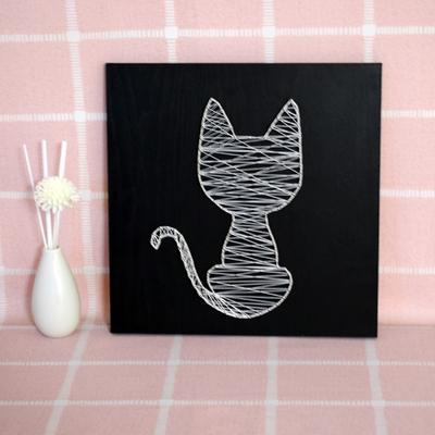 织梦.北欧清新俏皮猫纱线画diy弦丝画手工立体动物钉子绕线装饰画