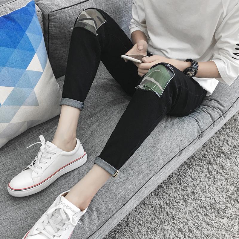 2019夏季裤子九分牛仔裤男青少年修身小脚裤男破洞休闲韩版9分裤