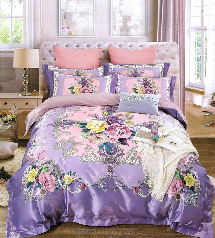 简森张家纺纯棉贡缎电脑提花花间紫四件套大床