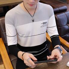 星座9826-P30男士长袖T恤v领韩版修身打底衫春秋季潮流男装秋装