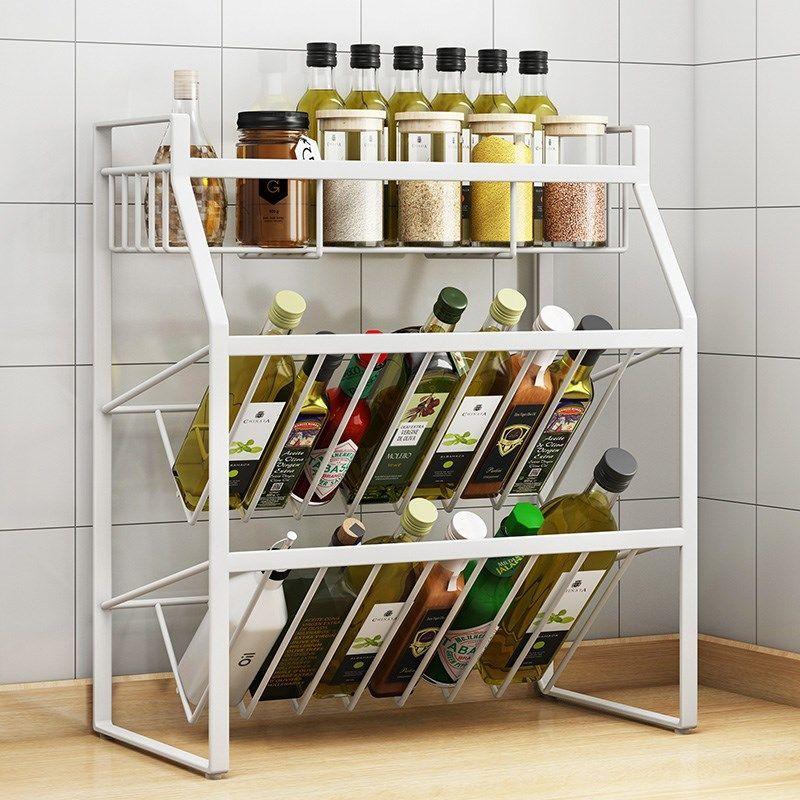 厨房收纳架落地调料架免打孔多层铁艺家用置物架台面酱油瓶储物架