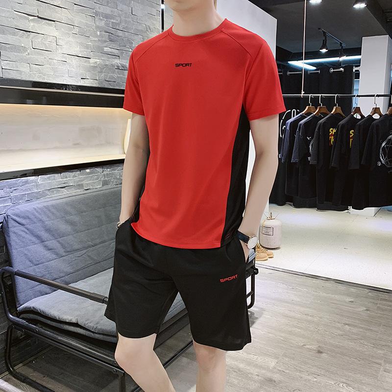 夏季两件套装男士短袖T恤初中学生韩版潮流休闲短裤一套衣服男装
