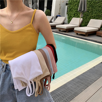 taobao agent Spring net celebrity Korean version of the sleeveless inner with a base beautiful back knitted sling sexy small vest women's outer wear tops