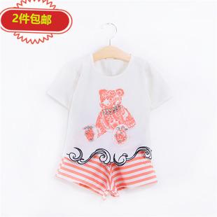 Шахин должны дорожить наборы женщины одеваются ребенок ребенок короткое платье рукав T футболки полоса короткий брюки второй элемент хлопок случайный установите