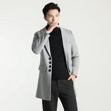 18年新款男士韩版风衣外套棚拍休闲中长款加厚羊毛呢大衣8763p100