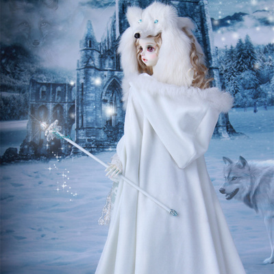 taobao agent 【GEM clothing】1/3bjd doll shawl, 3 points Lisa same style white plush hat shawl