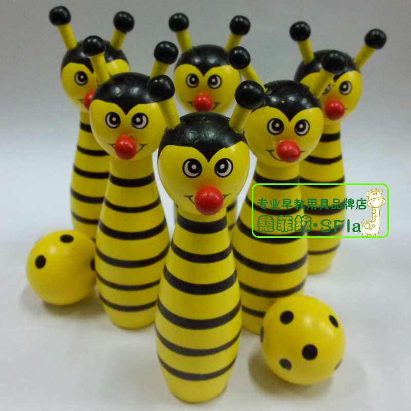 Trẻ em mẫu giáo bóng gỗ đồ chơi phim hoạt hình bằng gỗ animal bowling đồ chơi giáo dục